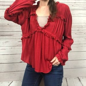 Asos Red V-Neck Ruffle Long Sleeve Boho Top - S5